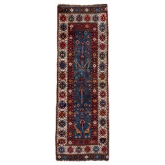 Antique Caucasian Small Runner, Royal Blue Field, circa 1900s