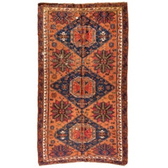 Antique Caucasian Rust Navy Blue Geometric Tribal Soumak Rug circa 1920s