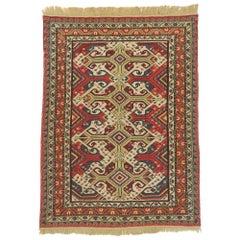Antique Caucasian Soumak Rug with Rustic Arts & Crafts Style