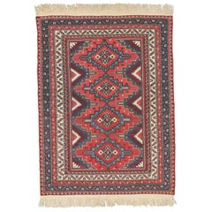 Antique Caucasian Soumak Rug with Tribal Style