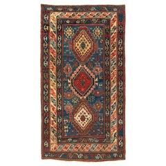 Antique Caucasian Tribal Blue Red Kazak Carpet, c. 1900s-1910s