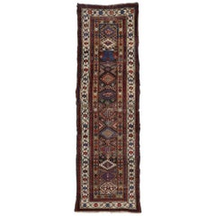 Antique Caucasian Tribal Kazak Hallway Runner with Art Deco Tribal Style