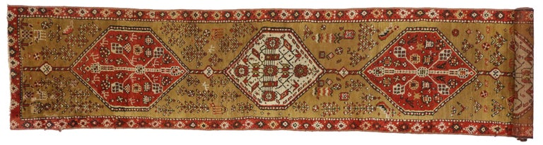 Wool Antique Caucasian Tribal Runner, Hallway Runner For Sale