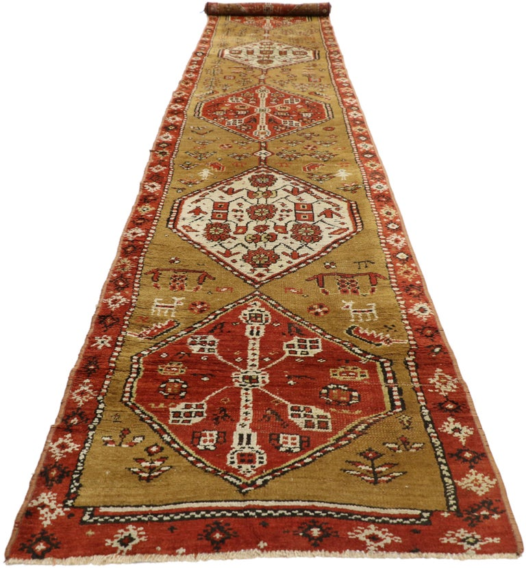 Russian Antique Caucasian Tribal Runner, Hallway Runner For Sale