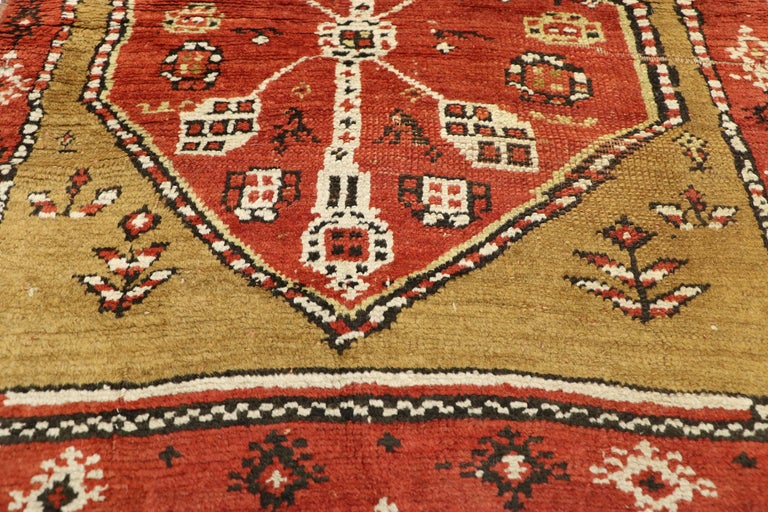 Hand-Knotted Antique Caucasian Tribal Runner, Hallway Runner For Sale