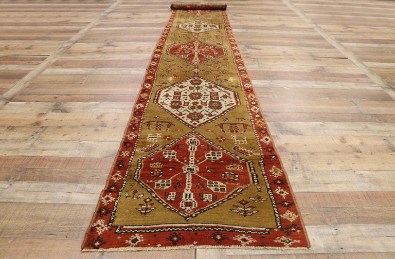 Antique Caucasian Tribal Runner, Hallway Runner For Sale 2