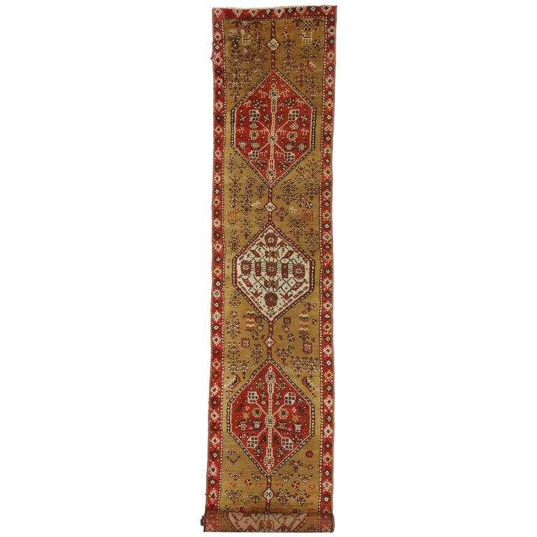 Antique Caucasian Tribal Runner, Hallway Runner For Sale