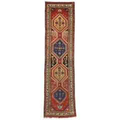 Antique Caucasian Tribal Shirvan Runner, Hallway Runner