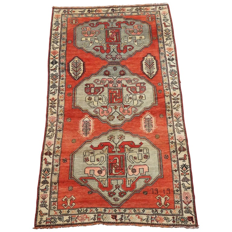 Antique Cotton Agra Rug With Abrash Circa 1900 For Sale: Antique Caucasus Kazak Gallery Runner, Circa 1900 For Sale