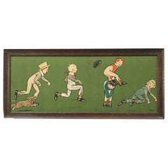 Antique Cecil Aldin Nursery Frieze, Leap Frog