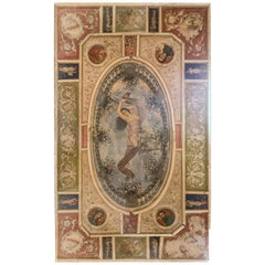 Antique Ceiling Painted on Canvas, Wooden Frames, Arts and Muse, Late 1800 Italy