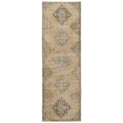Vintage Anatolian Oushak Runner. 3.5x11.4 Ft Handmade Carpet for Home & Office