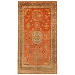 Antique Central Asian Rug Khotan Design with Geometric Field, circa 1920s