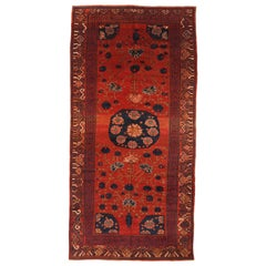 Antique Central Asian Rug Khoy Style with Lotus in Red Pond Details, circa 1980s
