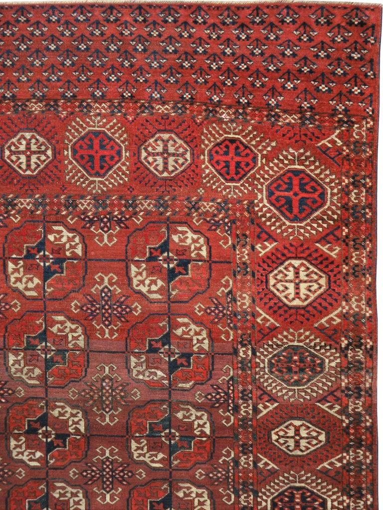 Hand-Knotted Antique Central Asian Tekke Carpet For Sale