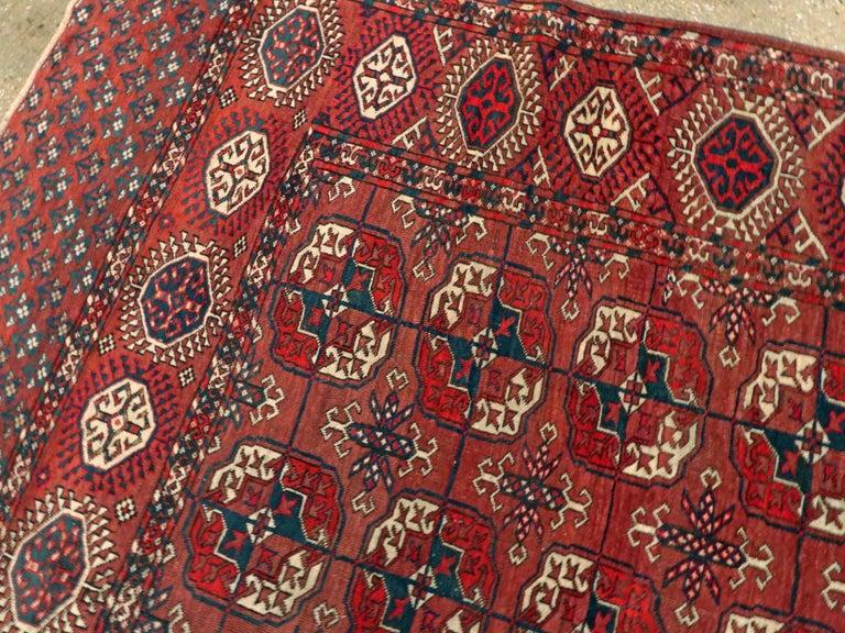 Wool Antique Central Asian Tekke Carpet For Sale