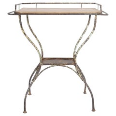 Antique Central European Metal Side Table with Wooden Top