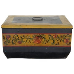 Antique Central Mfg Folk Art Toleware Bread Box Tin Pie Safe Cake Bake Farmhouse