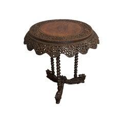Antique Centre Table, Asian, Teak, Lamp, Occasional, 19th Century, circa 1880