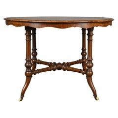 Antique Centre Table, English Victorian Circular Burr Walnut, Tea, Side