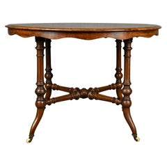 Antique Centre Table, English Victorian Circular Burr Walnut, Tea, Side