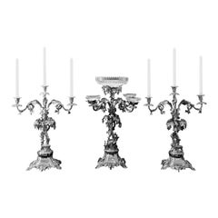 Antique Centrepiece and Candelabra Suite with Deer