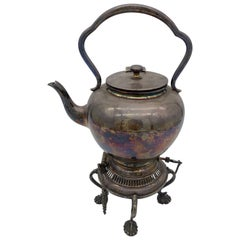 Antique Century Silver Teapot on Burner Stand