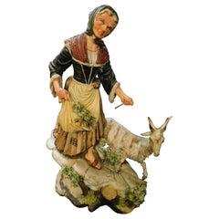 "Antique Ceramic ""Capodimonte"" Original Colored and Hand Painted, Italy Late 1800"
