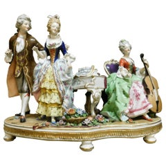 "Antique Ceramic ""Capodimonte"" Original, Colored and Hand Painted Italy Late 1800"