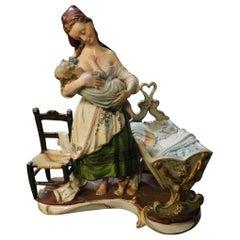 """Antique Ceramic """"Capodimonte"""" Original, Colored and Hand Painted, Italy, 1800"""