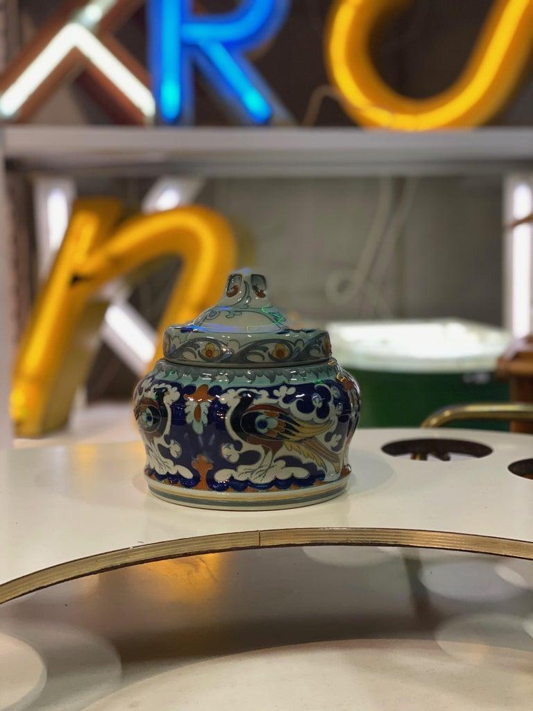 Art Nouveau Antique Ceramic Lidded Box by Samuel Schellink for Rozenburg For Sale
