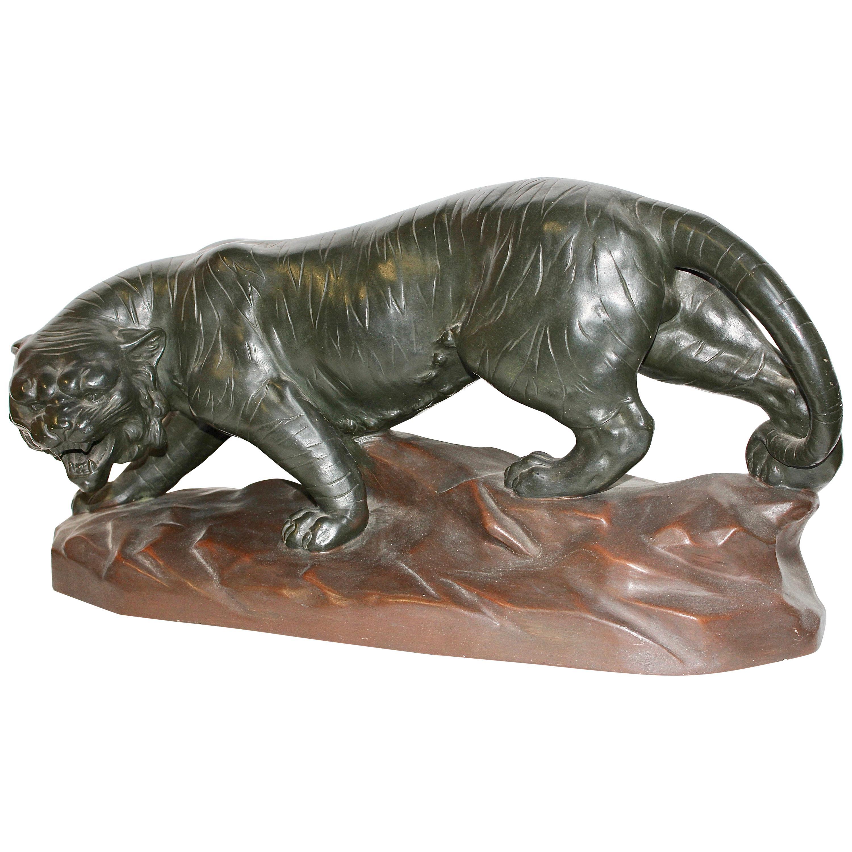 Antique Ceramic, Terracotta Sculpture, Walking Tiger