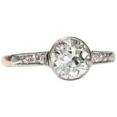 Antique Certified 1.50 Carat Old European Cut Diamond Solitaire Engagement Ring
