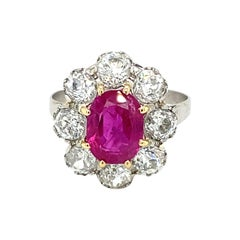 Antique Certified 2.77 Carat Natural Unheated Ruby Diamond Platinum Ring