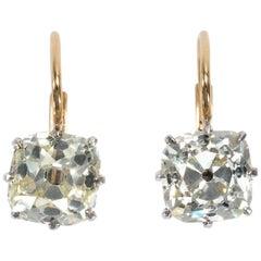Antique Certified 4.38 Carat Old Mine Cut Diamonds in Contemporary Earrings