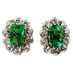 Antique Certified Colombian Emerald and Old European Diamonds a Pair of Earrings