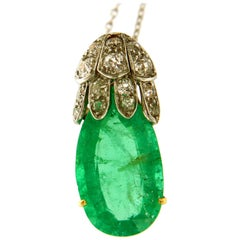 Antique Certified Colombian Emerald & Diamonds 18k Gold Pendant