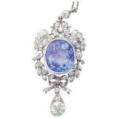Antique Ceylon Sapphire 20 Carat and Diamonds 1.68 Carat Pendant Original Box