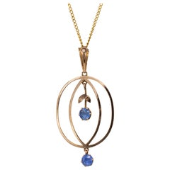 Antique Ceylon Sapphire Pendant Necklace Rose Gold circa 1910 Edwardian Jewelry