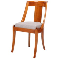 Antique Chair Cherrywood, Carvings, Upholstery, France, Style Empire, circa 1890