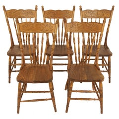 Antique Chairs, Set of 5, Ash Presstack Chairs, Solid Seats, American 1900 B2066