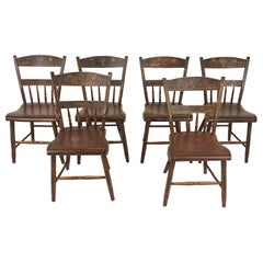 Antique Chairs, Set of 6, Pennsylvania Dutch Painted Plank Bottom Chairs, 1890s