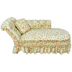 Antique Chaise Longue, Pink Tea Rose Cream, Chintz Skirt & Pillow, Tufted Lounge