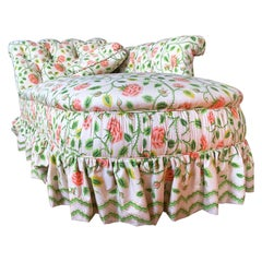 CLEARANCE Antique Chaise Longue, Pink Tea Rose, Chintz Skirt & Pillow Lounge