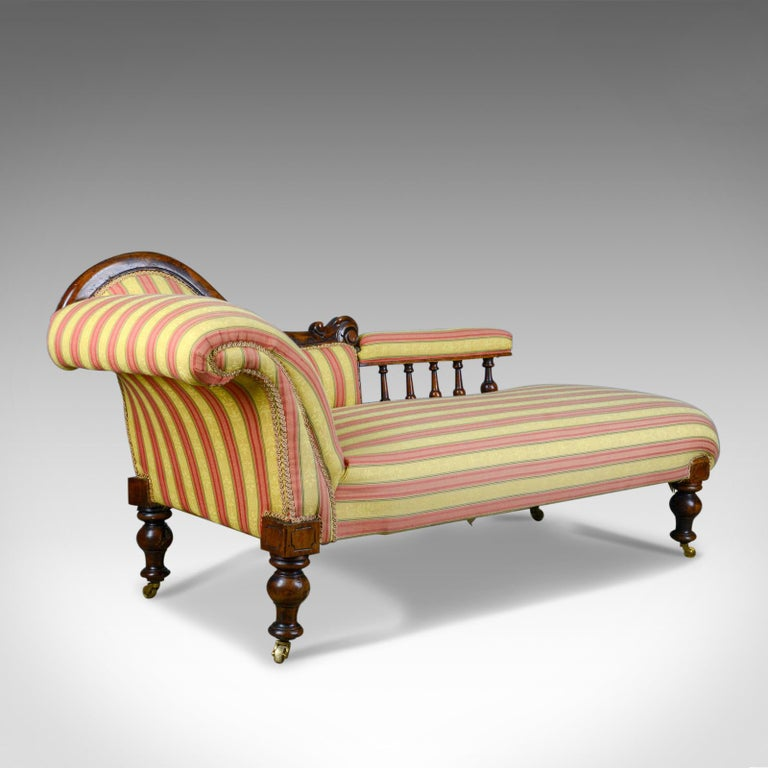 Antique Chaise Lounge English Victorian Scroll End Day