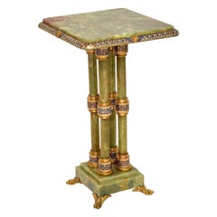 Antique Champlevé and Cloisonné Enamel Mounted Git Bronze Onyx Table Stand