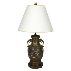 Antique Champlevé Handled Urn Mounted as Lamp