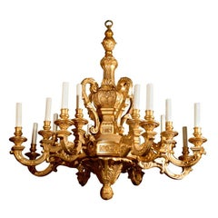 Antique Chandelier. Giltwood chandelier