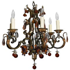 Antique Chandelier, Iron with Crystal