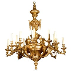 Antique Chandelier. Magnificent Giltwood Chandelier